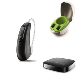 Abbildung von Phonak Marvel Hörgerät einseitig in schwarz mit Ladestation und Connector