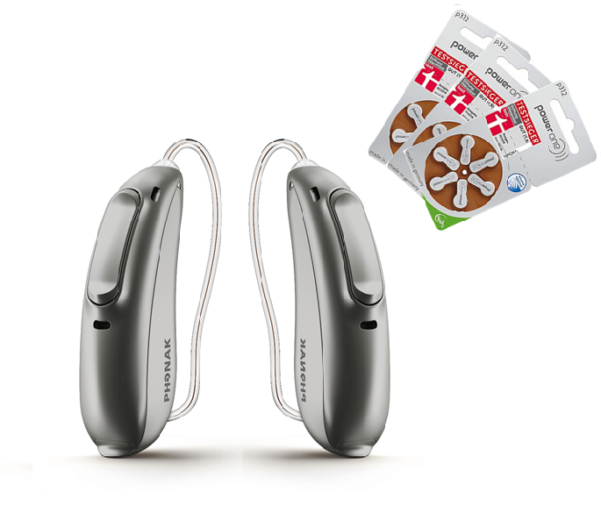 Abbildung von Phonak Audeo Marvel M 50 Batterie zwei Ohren.